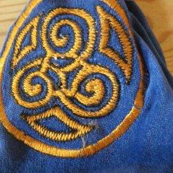 Sky Blue Velvet Celtic Pouch