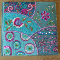 Large Embroidered Notebooks Turquoise