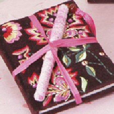 Velvet embroidered notebook