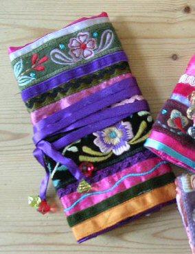 Velvet Ribbon Embroidered Jewellery Roll Purple