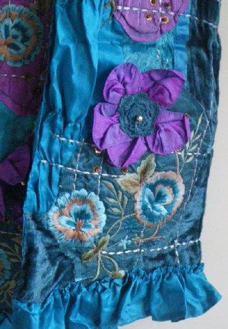 Satin Velvet Scarves Turquoise Detail