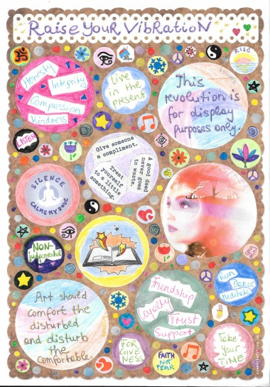 cosmic journaling - completed circles journal page