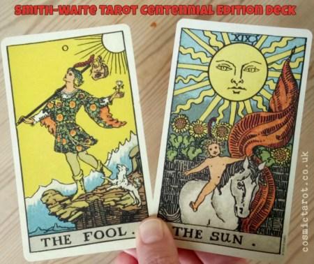 rider waite smith fool and sun