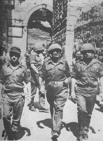 Left to right, Israeli generals Uzi Narkiss, Moshe Dayan and Yitzhak Rabin entering Jerusalem in June 1967