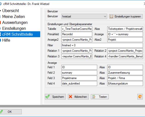TimeTracker - cRM Schnittstelle