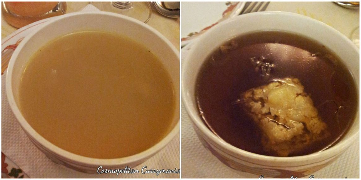 Left: Chicken Consomme. Right: French Onion Soup.