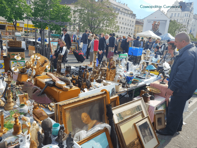 Flohmarkt Saturday flea market in Vienna Naschmarkt