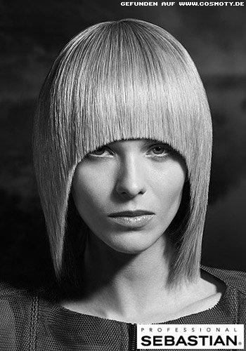 Frisuren Bilder Extravagant geschnittener LongBob mit rund geschnittener PonyKontur