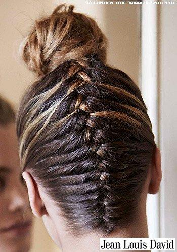 Frisuren Bilder Franzsisch geflochtener Zopf zum Dutt