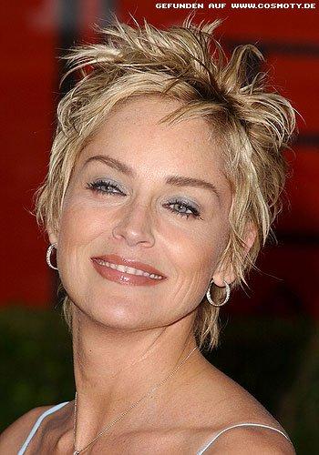 Frisuren Bilder Sharon Stone Mit Strähnig Gestyltem Kurzhaarschnitt