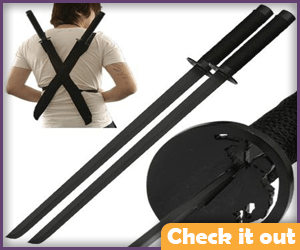 Twin Ninja Swords with Back Holders.