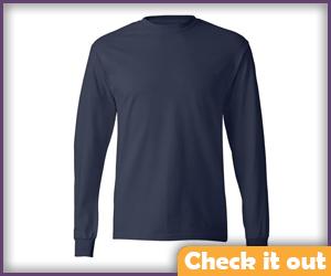 Grayish blue long sleeve shirt.