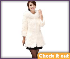 Faux White Fur Coat.