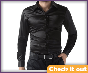 Black Satin Dress Shirt.