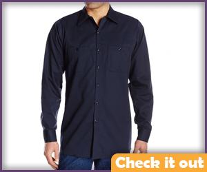 Dark Blue Long Collar Shirt.