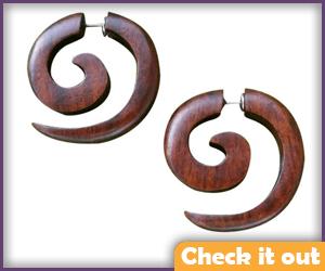 Fake Gauge Wooden Earrings.
