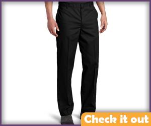 Black flat front pants.