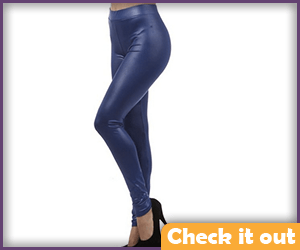 Shiny Dark Blue Leggings.