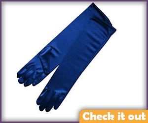 Metallic Blue Elbow Length Gloves.