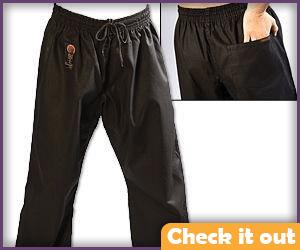 Black martial arts pants.