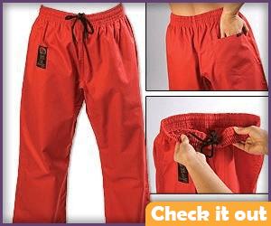 Red martial arts pants.