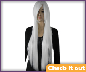 Long White Straight Wig.