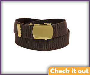 Brown Belt with Gold Buckle.