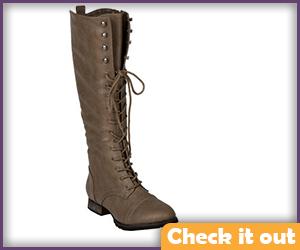 Beige Lace Up Boots.