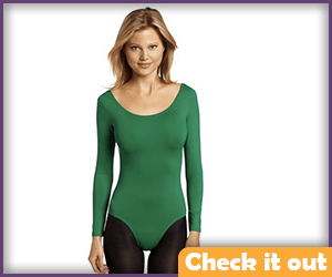 Green Long Sleeve Leotard.