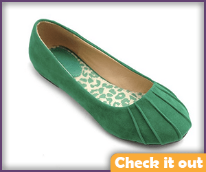 Green Suede Comfortable Flats.