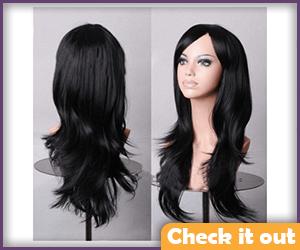 Black Long Wavy Wig.