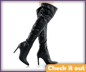 Knee High Black Heels.