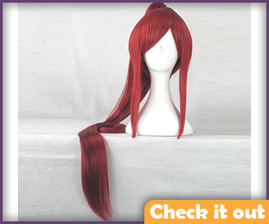 Erza Red Pony Tail Wig, Official.