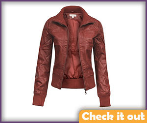 Dark Red Leather Jacket.