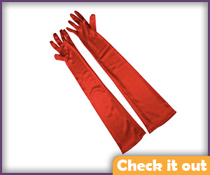 Red Elbow Length Gloves.