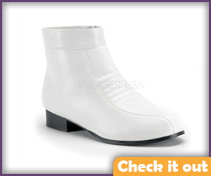 Men's White Short Boots.