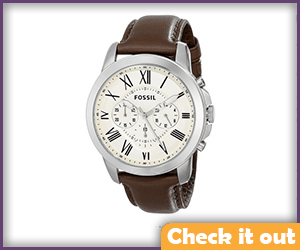 Brown Leather Fossil Watch (hehe fossil, get it?).