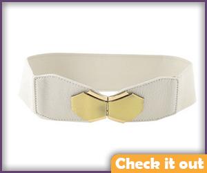 White with Gold Buckle Waist Belt.