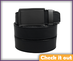 Black Buckle Leather Belt.