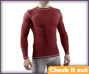 Deep Red Long-Sleeve Muscle Shirt.