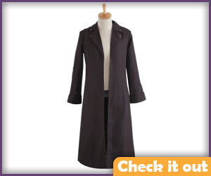 Dark Brown Notched Collar Trench Coat.
