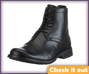 Men's Short Black Leather Boots.