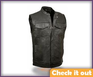 Men's Leather Motorcycle Vest.