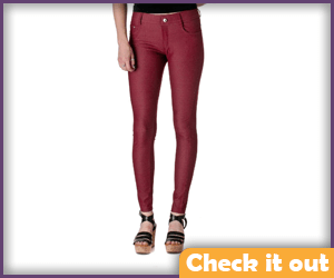 Burgundy Jeggings.