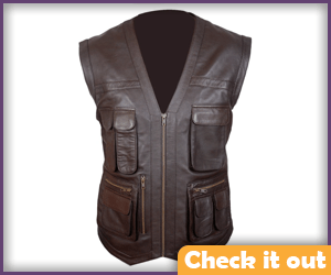 Chestnut Brown Leather Vest.