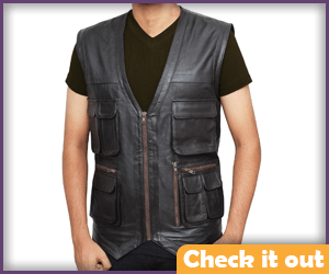 Dark Brown Leather Vest.