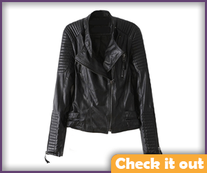 Women's Padded Shoulder Black Leather jacket.