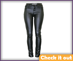 Faux Leather Tight-Fit Pants.