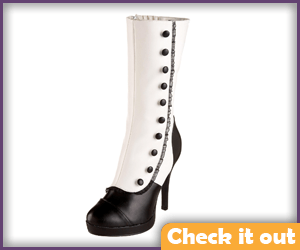 Women's Black and White Boots.