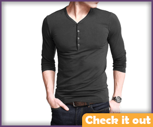 Gray V-Neck Button Tee.